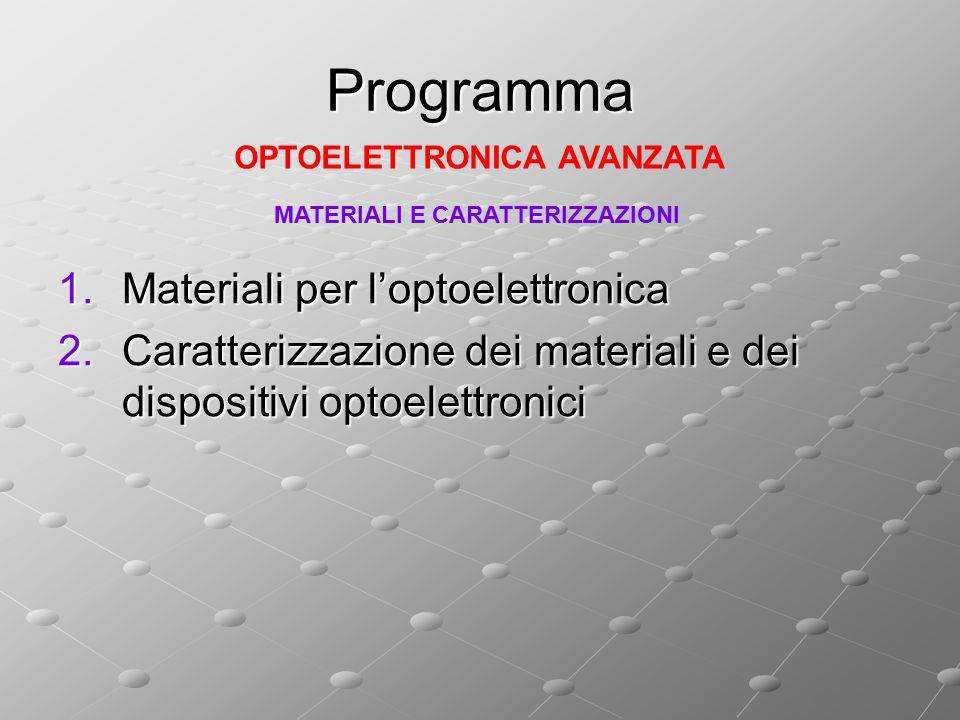 Programma 1.Materiali per l'optoelettronica 2.Caratterizzazione dei materiali e dei dispositivi optoelettronici OPTOELETTRONICA AVANZATA MATERIALI E C