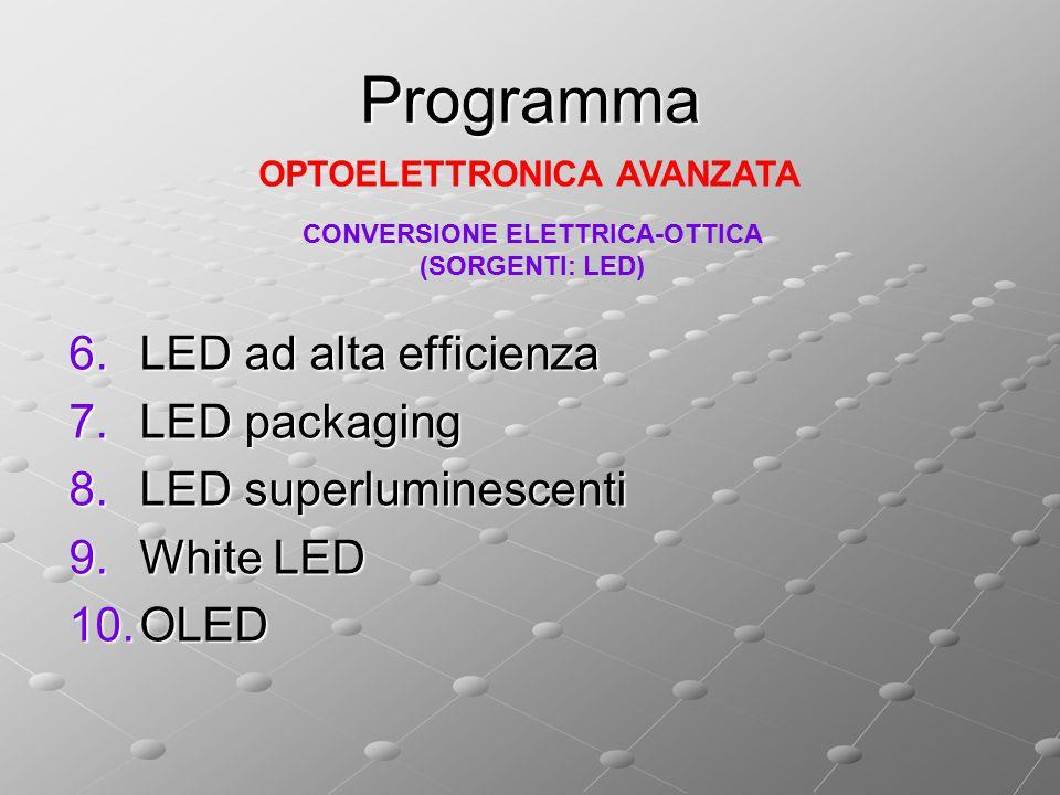 Programma 6.LED ad alta efficienza 7.LED packaging 8.LED superluminescenti 9.White LED 10.OLED OPTOELETTRONICA AVANZATA CONVERSIONE ELETTRICA-OTTICA (