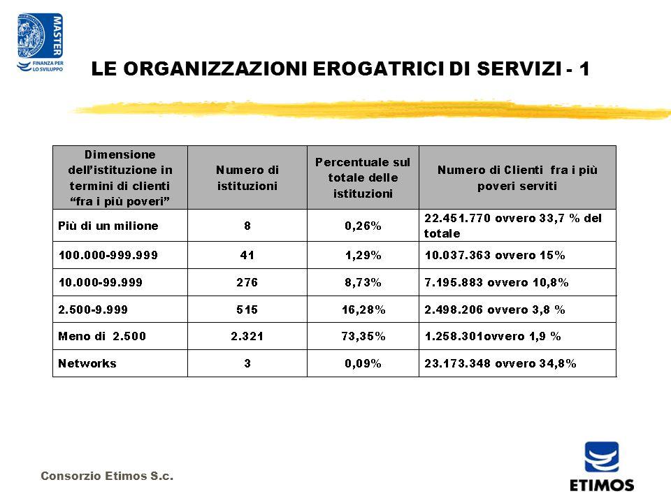 Consorzio Etimos S.c. LE ORGANIZZAZIONI EROGATRICI DI SERVIZI - 1