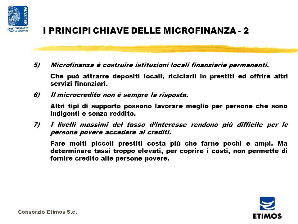 Consorzio Etimos S.c. 5)Microfinanza è costruire istituzioni locali finanziarie permanenti.