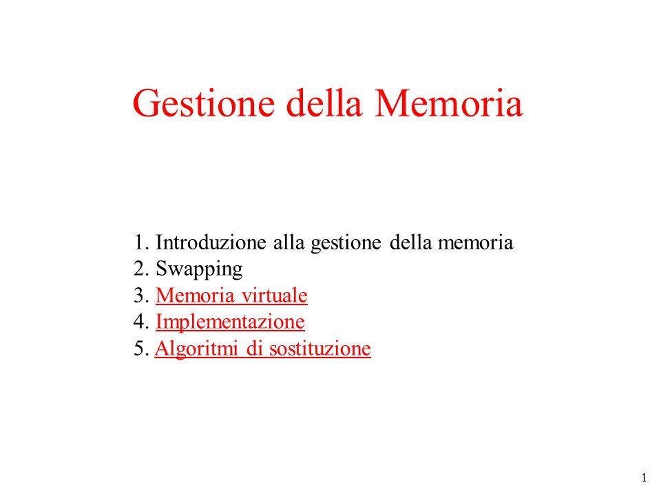 1 1. Introduzione alla gestione della memoria 2. Swapping 3. Memoria virtuale 4. Implementazione 5. Algoritmi di sostituzione Gestione della Memoria