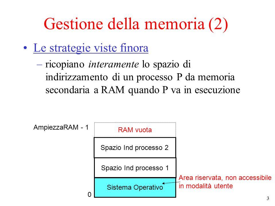 3 Gestione della memoria (2) Le strategie viste finora –ricopiano interamente lo spazio di indirizzamento di un processo P da memoria secondaria a RAM