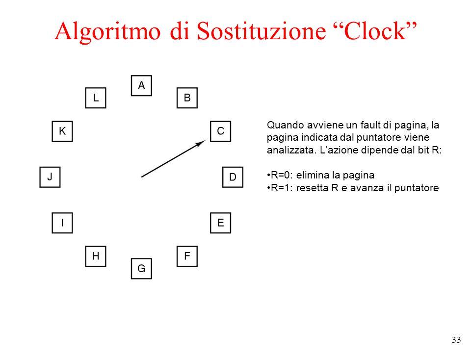 """33 Algoritmo di Sostituzione """"Clock"""" Quando avviene un fault di pagina, la pagina indicata dal puntatore viene analizzata. L'azione dipende dal bit R:"""