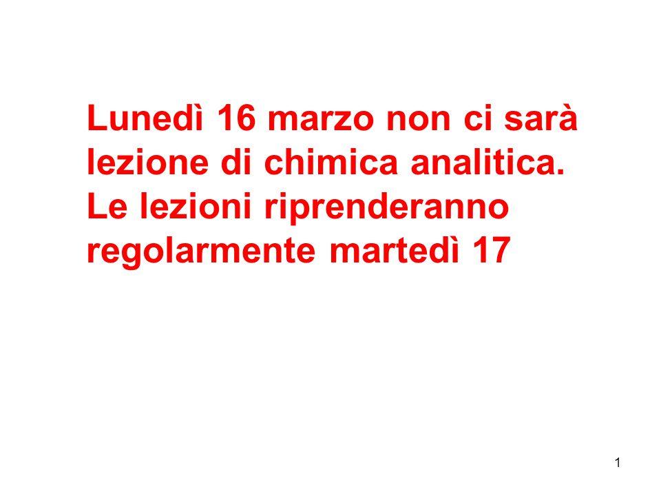 1 Lunedì 16 marzo non ci sarà lezione di chimica analitica. Le lezioni riprenderanno regolarmente martedì 17