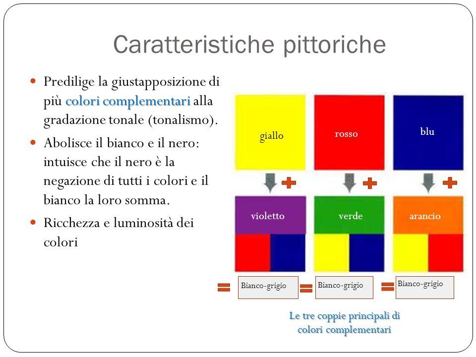 Caratteristiche pittoriche colori complementari Predilige la giustapposizione di più colori complementari alla gradazione tonale (tonalismo). Abolisce