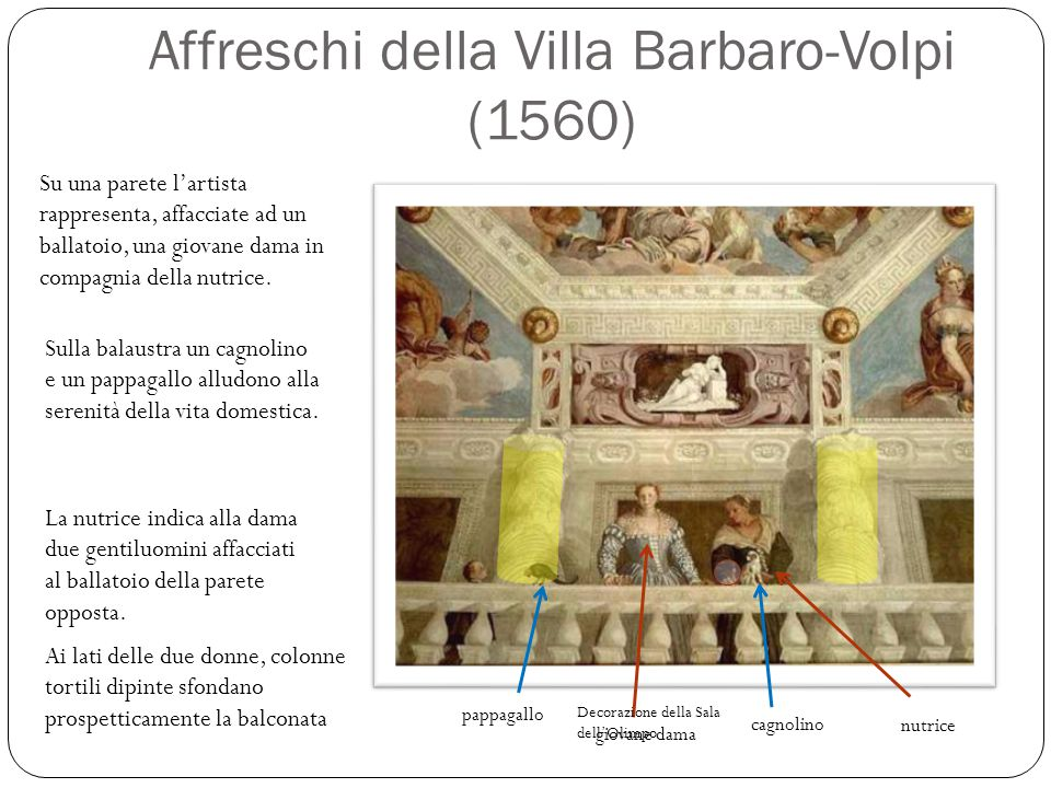 Affreschi della Villa Barbaro-Volpi (1560) Su una parete l'artista rappresenta, affacciate ad un ballatoio, una giovane dama in compagnia della nutric