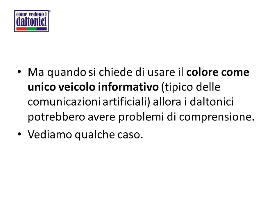 Ma quando si chiede di usare il colore come unico veicolo informativo (tipico delle comunicazioni artificiali) allora i daltonici potrebbero avere pro