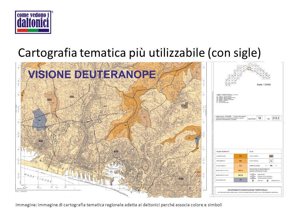 Cartografia tematica più utilizzabile (con sigle) Immagine: immagine di cartografia tematica regionale adatta ai daltonici perché associa colore e simboli