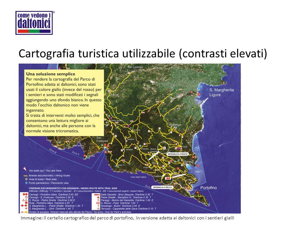 Cartografia turistica utilizzabile (contrasti elevati) Immagine: il cartello cartografico del parco di portofino, in versione adatta ai daltonici con i sentieri gialli