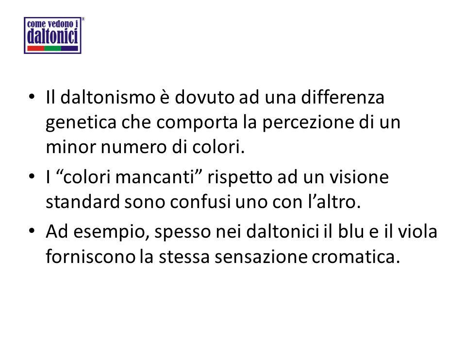 """Il daltonismo è dovuto ad una differenza genetica che comporta la percezione di un minor numero di colori. I """"colori mancanti"""" rispetto ad un visione"""