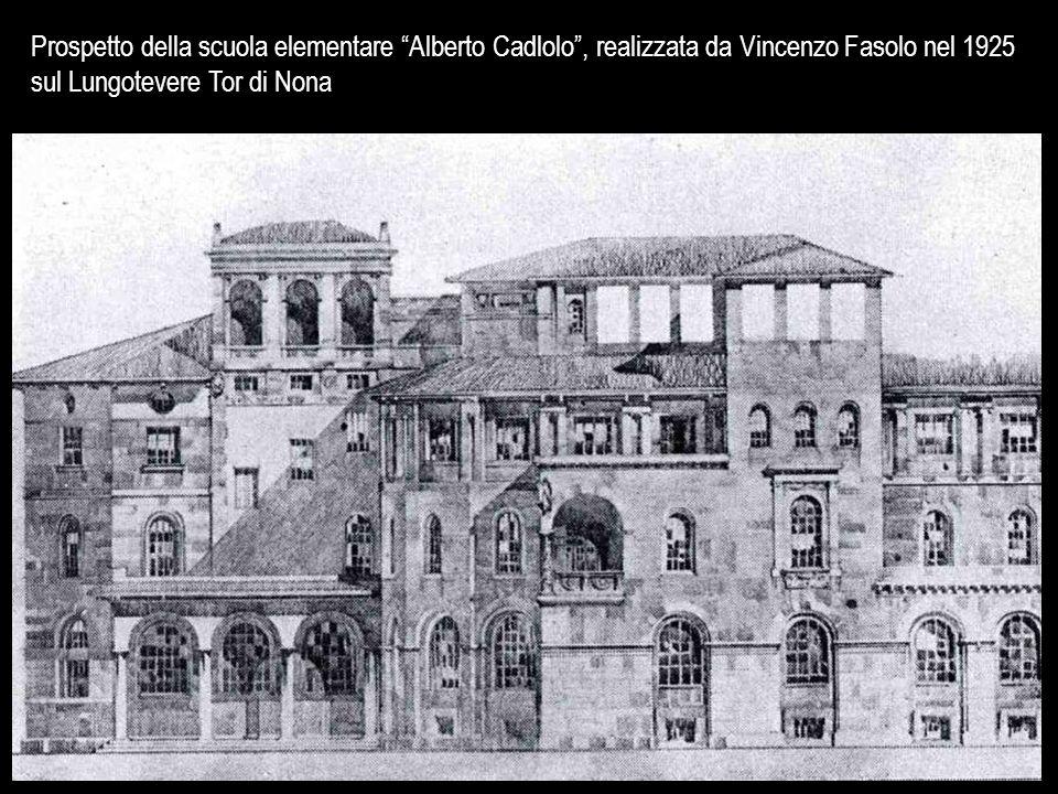 """Prospetto della scuola elementare """"Alberto Cadlolo"""", realizzata da Vincenzo Fasolo nel 1925 sul Lungotevere Tor di Nona"""