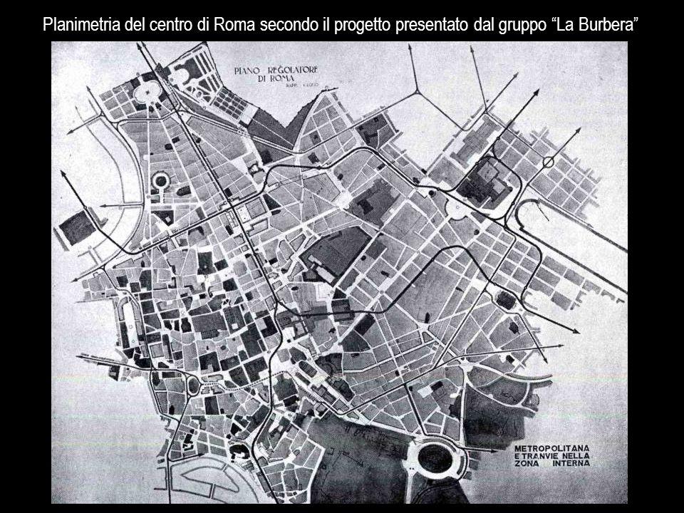 """Planimetria del centro di Roma secondo il progetto presentato dal gruppo """"La Burbera"""""""