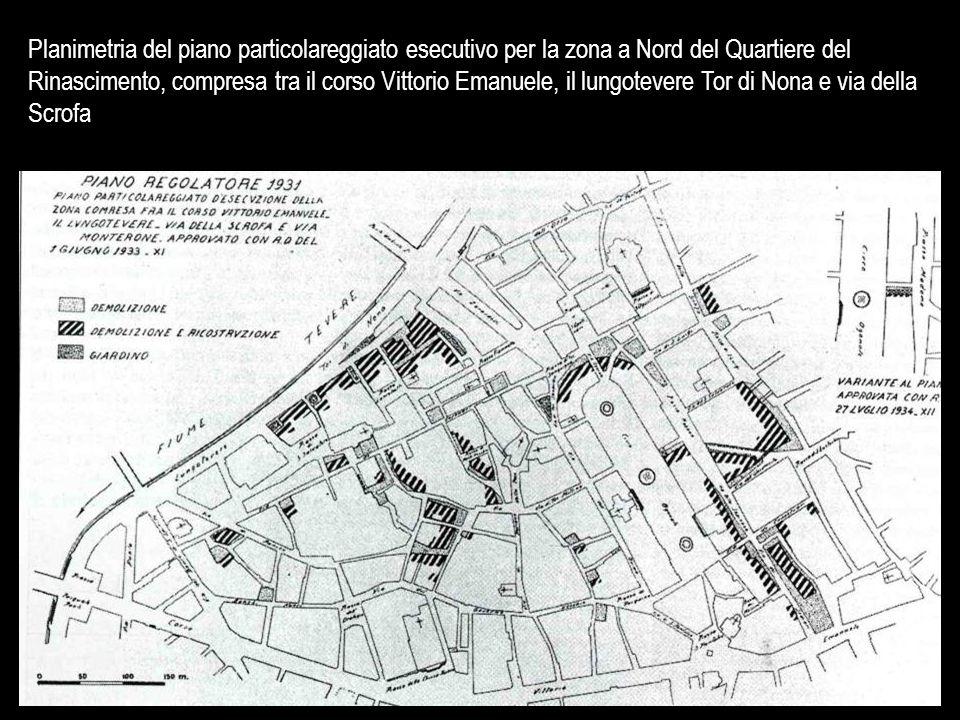 Planimetria del piano particolareggiato esecutivo per la zona a Nord del Quartiere del Rinascimento, compresa tra il corso Vittorio Emanuele, il lungo