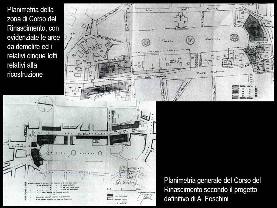 Planimetria della zona di Corso del Rinascimento, con evidenziate le aree da demolire ed i relativi cinque lotti relativi alla ricostruzione Planimetr