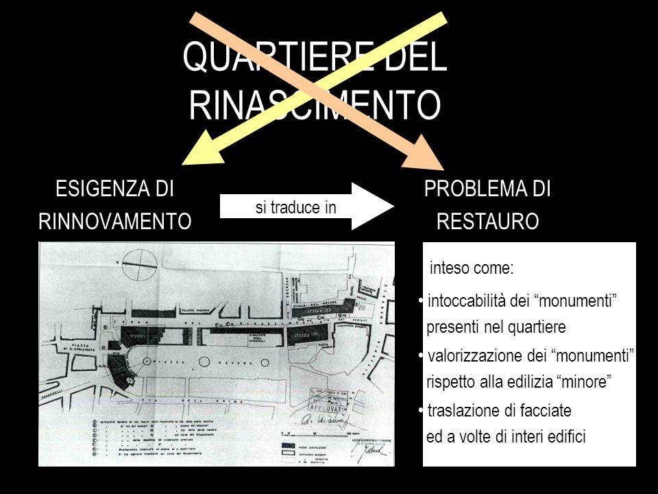 """QUARTIERE DEL RINASCIMENTO ESIGENZA DI RINNOVAMENTO PROBLEMA DI RESTAURO si traduce in valorizzazione dei """"monumenti"""" rispetto alla edilizia """"minore"""""""