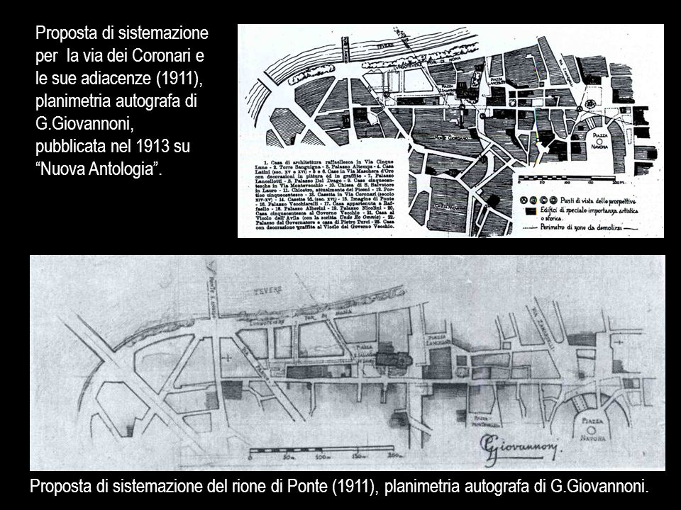 """Proposta di sistemazione per la via dei Coronari e le sue adiacenze (1911), planimetria autografa di G.Giovannoni, pubblicata nel 1913 su """"Nuova Antol"""