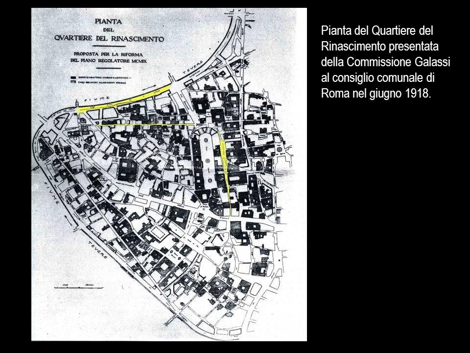 Planimetria della zona di Corso del Rinascimento, con evidenziate le aree da demolire ed i relativi cinque lotti relativi alla ricostruzione Planimetria generale del Corso del Rinascimento secondo il progetto definitivo di A.