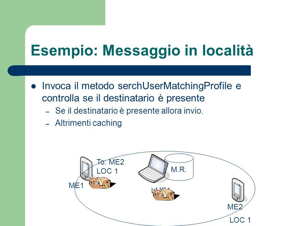 Esempio: Messaggio in località Invoca il metodo serchUserMatchingProfile e controlla se il destinatario è presente – Se il destinatario è presente allora invio.