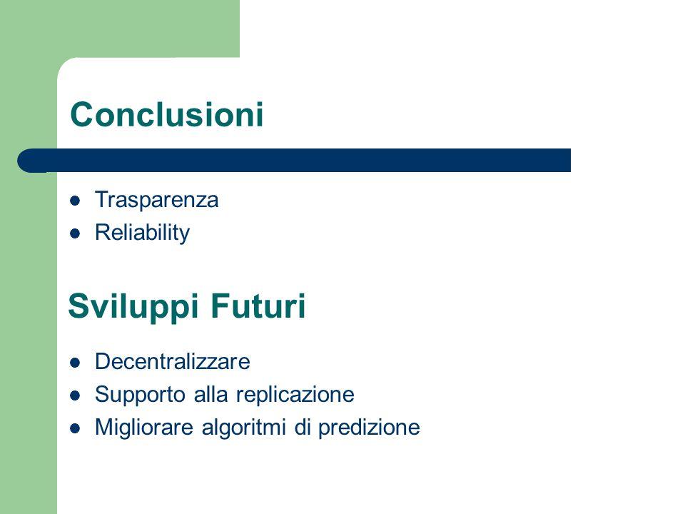 Conclusioni Decentralizzare Supporto alla replicazione Migliorare algoritmi di predizione Trasparenza Reliability Sviluppi Futuri