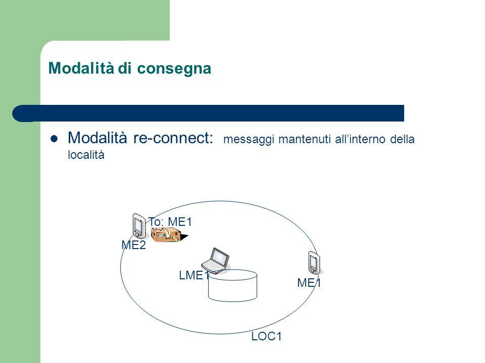 Modalità di consegna Modalità re-connect: messaggi mantenuti all'interno della località LME1 ME1 To: ME1 ME2 LOC1