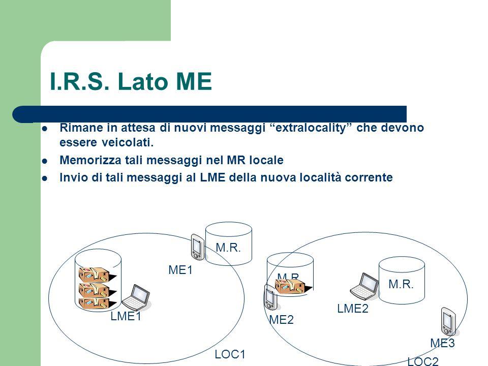I.R.S. Lato ME Rimane in attesa di nuovi messaggi extralocality che devono essere veicolati.