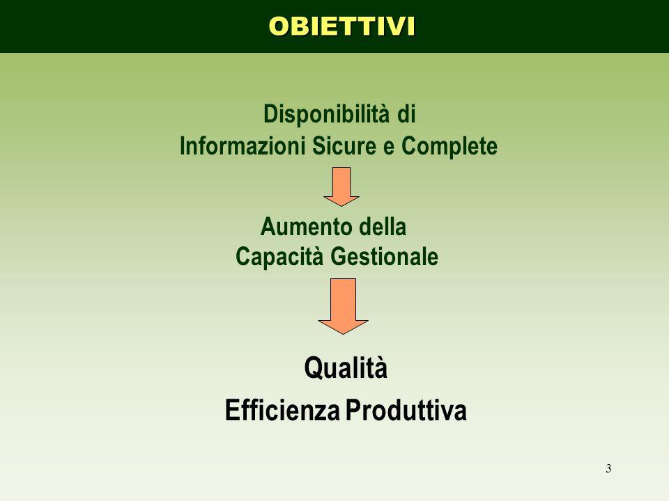 3 Qualità Efficienza Produttiva Disponibilità di Informazioni Sicure e Complete Aumento della Capacità GestionaleOBIETTIVI