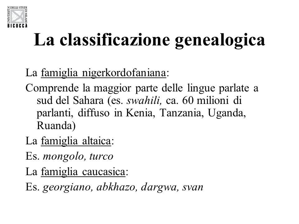 La classificazione genealogica La famiglia nigerkordofaniana: Comprende la maggior parte delle lingue parlate a sud del Sahara (es. swahili, ca. 60 mi
