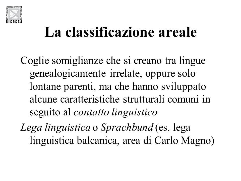 La classificazione areale Coglie somiglianze che si creano tra lingue genealogicamente irrelate, oppure solo lontane parenti, ma che hanno sviluppato alcune caratteristiche strutturali comuni in seguito al contatto linguistico Lega linguistica o Sprachbund (es.