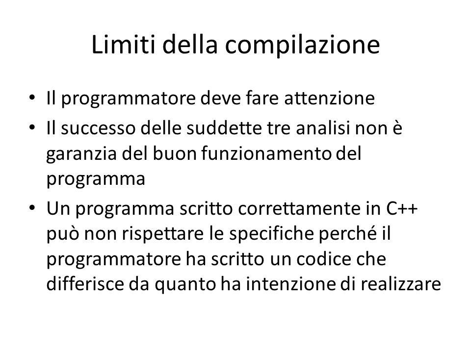 Limiti della compilazione Il programmatore deve fare attenzione Il successo delle suddette tre analisi non è garanzia del buon funzionamento del programma Un programma scritto correttamente in C++ può non rispettare le specifiche perché il programmatore ha scritto un codice che differisce da quanto ha intenzione di realizzare