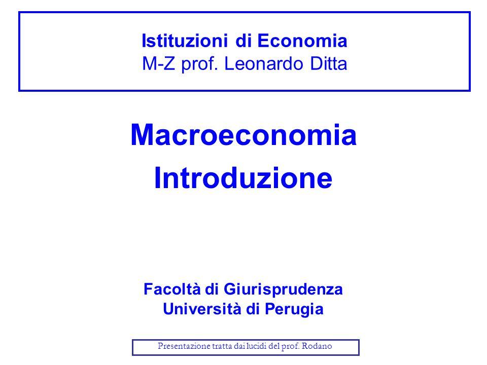 Istituzioni di Economia M-Z prof. Leonardo Ditta Macroeconomia Introduzione Facoltà di Giurisprudenza Università di Perugia Presentazione tratta dai l