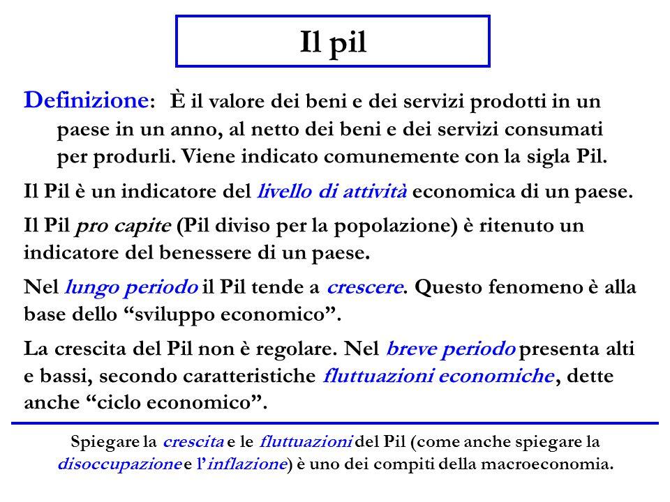 Definizione : È il valore dei beni e dei servizi prodotti in un paese in un anno, al netto dei beni e dei servizi consumati per produrli. Viene indica
