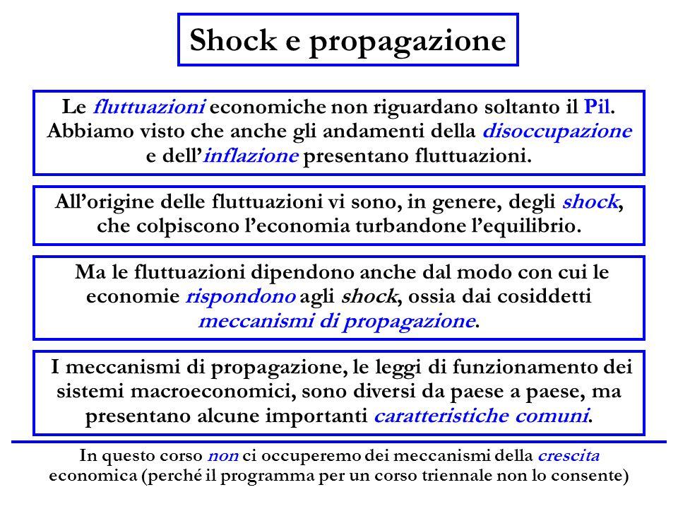 In questo corso non ci occuperemo dei meccanismi della crescita economica (perché il programma per un corso triennale non lo consente) Shock e propaga