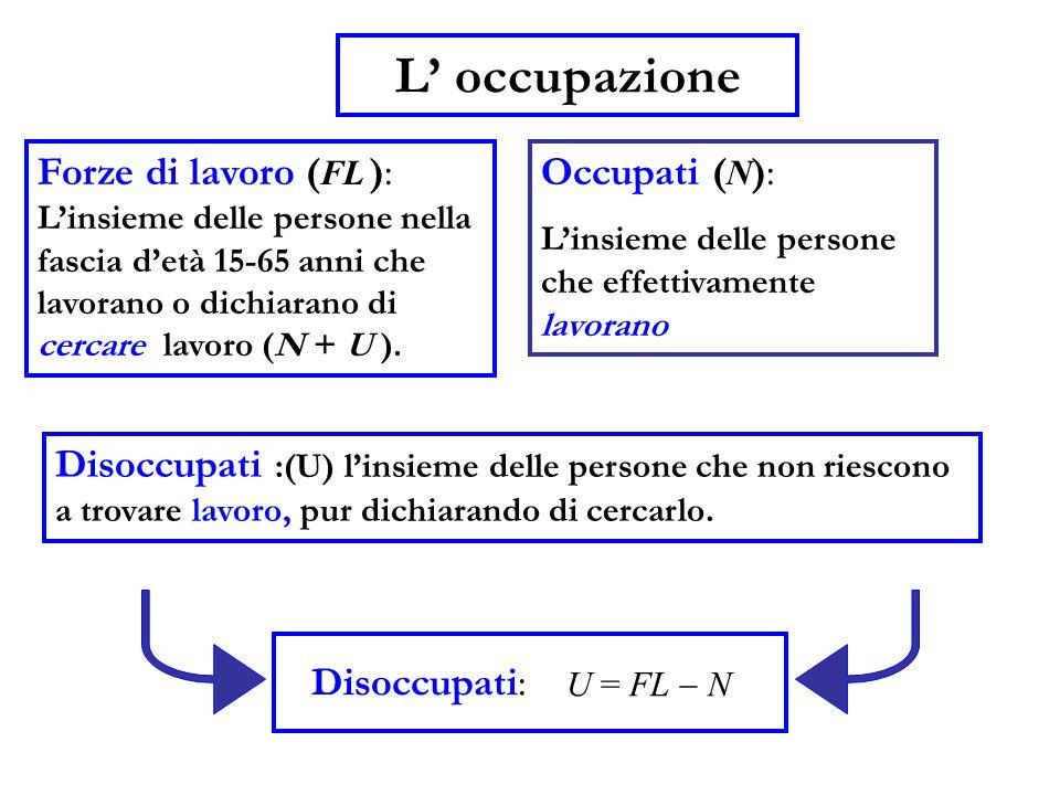 Occupati ( N ): L'insieme delle persone che effettivamente lavorano U = FL  N Forze di lavoro ( FL ): L'insieme delle persone nella fascia d'età 15-6