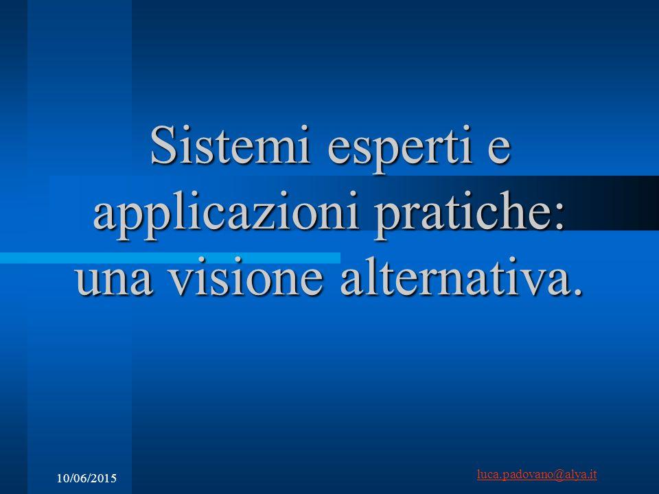luca.padovano@alya.it 10/06/2015 Sistemi esperti e applicazioni pratiche: una visione alternativa.