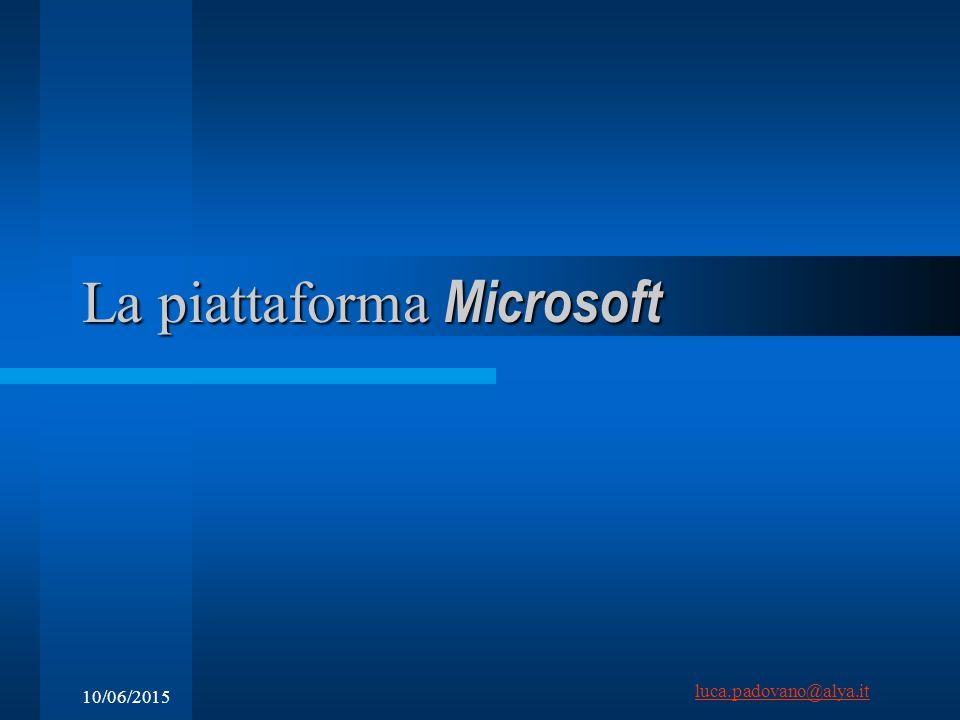 luca.padovano@alya.it 10/06/2015 La piattaforma Microsoft