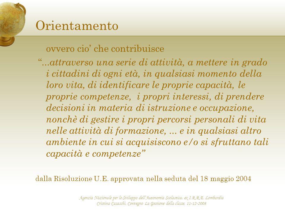 Agenzia Nazionale per lo Sviluppo dell'Autonomia Scolastica, ex I.R.R.E. Lombardia Cristina Casaschi, Convegno La Gestione della classe, 11-12-2008 Or