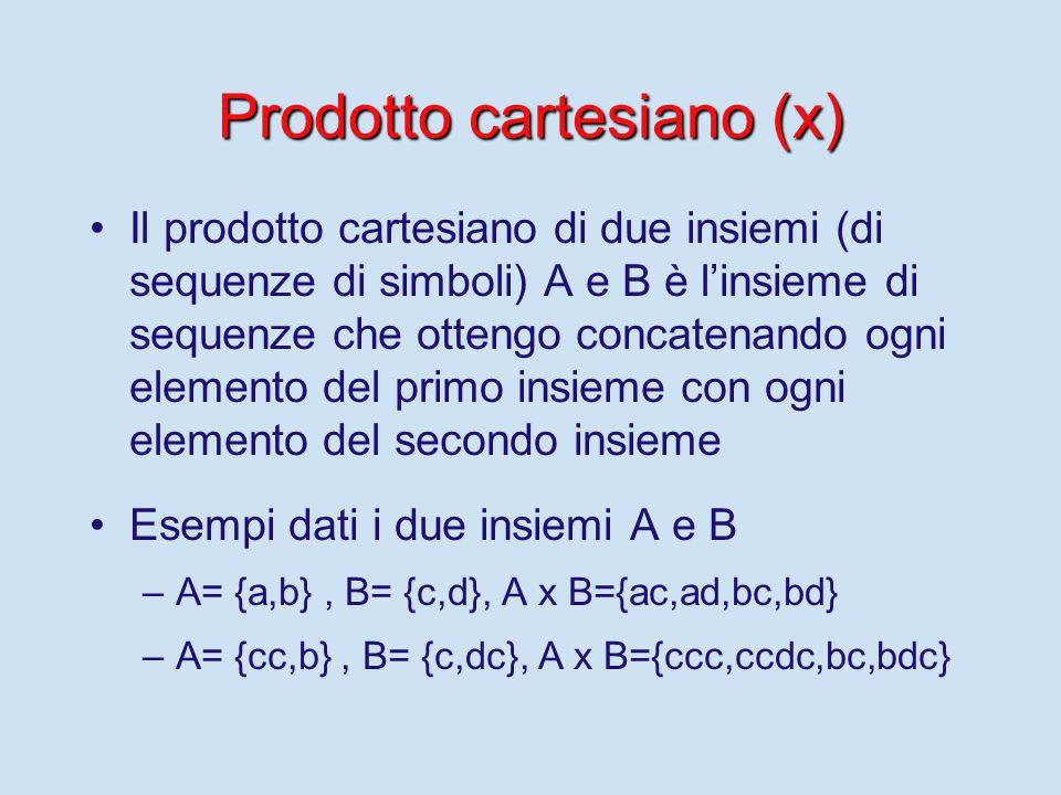 Prodotto cartesiano (x) Il prodotto cartesiano di due insiemi (di sequenze di simboli) A e B è l'insieme di sequenze che ottengo concatenando ogni elemento del primo insieme con ogni elemento del secondo insieme Esempi dati i due insiemi A e B – –A= {a,b}, B= {c,d}, A x B={ac,ad,bc,bd} – –A= {cc,b}, B= {c,dc}, A x B={ccc,ccdc,bc,bdc}
