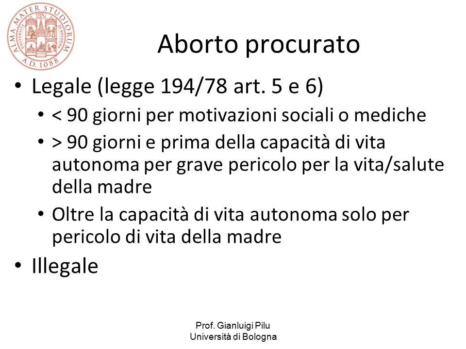 Prof. Gianluigi Pilu Università di Bologna Aborto procurato Legale (legge 194/78 art. 5 e 6) < 90 giorni per motivazioni sociali o mediche > 90 giorni