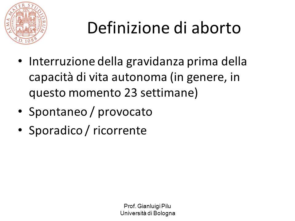 Prof. Gianluigi Pilu Università di Bologna Definizione di aborto Interruzione della gravidanza prima della capacità di vita autonoma (in genere, in qu