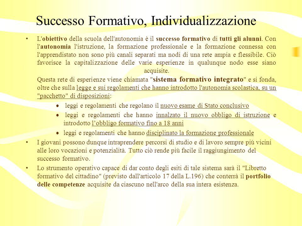 Successo Formativo, Individualizzazione L obiettivo della scuola dell autonomia è il successo formativo di tutti gli alunni.