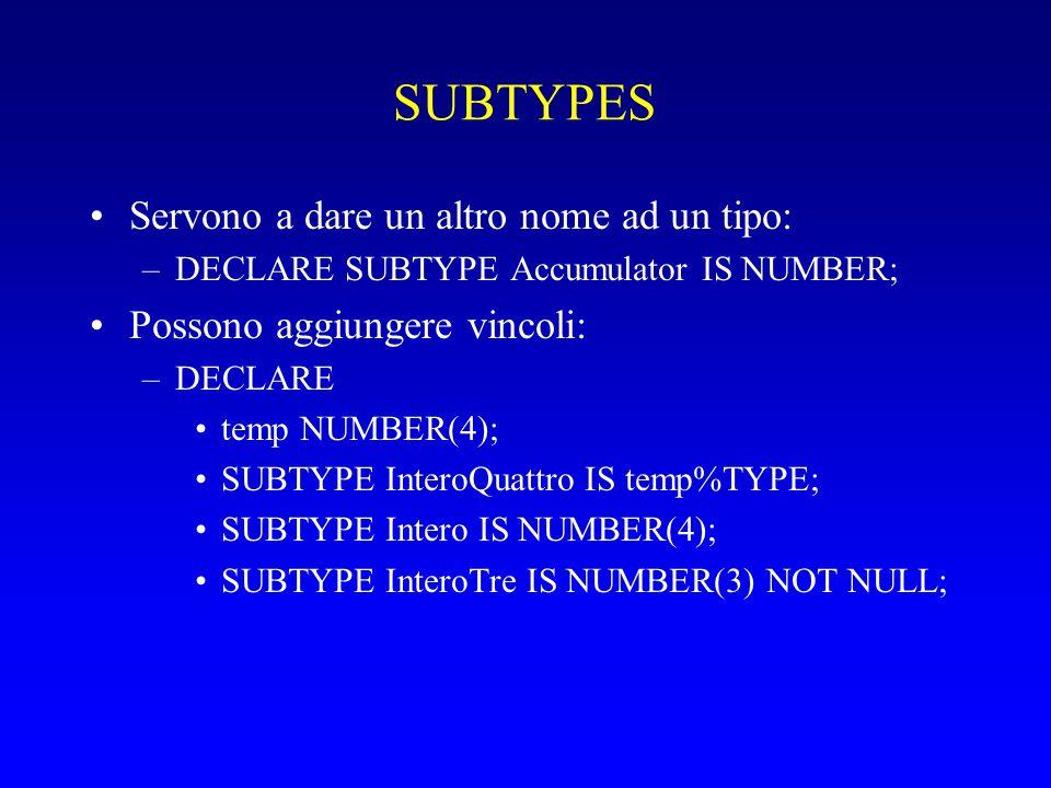 SUBTYPES Servono a dare un altro nome ad un tipo: –DECLARE SUBTYPE Accumulator IS NUMBER; Possono aggiungere vincoli: –DECLARE temp NUMBER(4); SUBTYPE