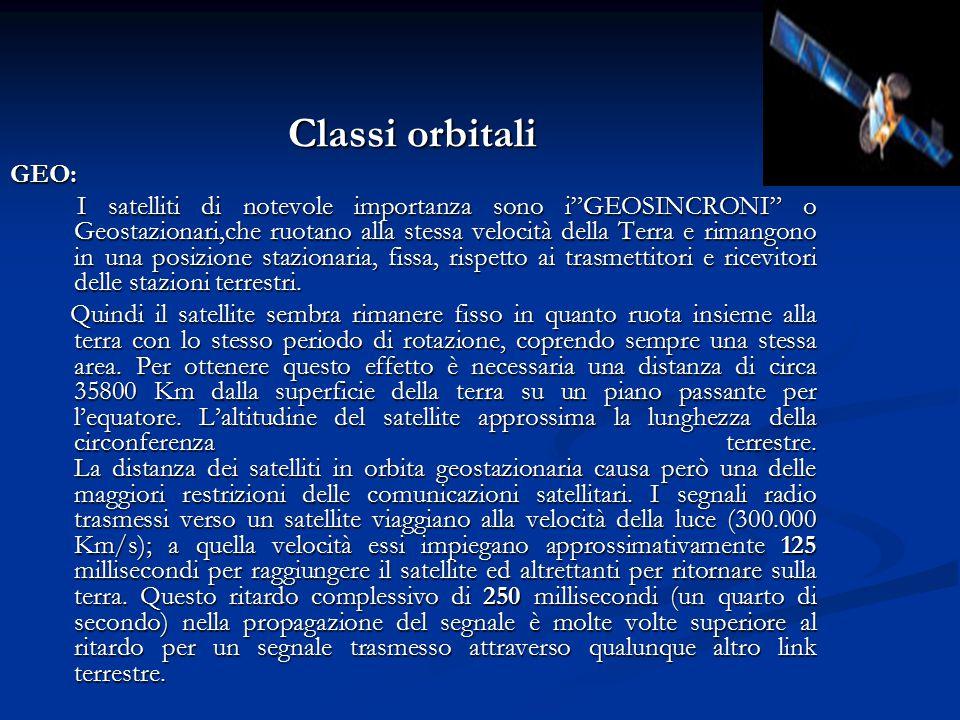 """Classi orbitali GEO: I satelliti di notevole importanza sono i""""GEOSINCRONI"""" o Geostazionari,che ruotano alla stessa velocità della Terra e rimangono i"""
