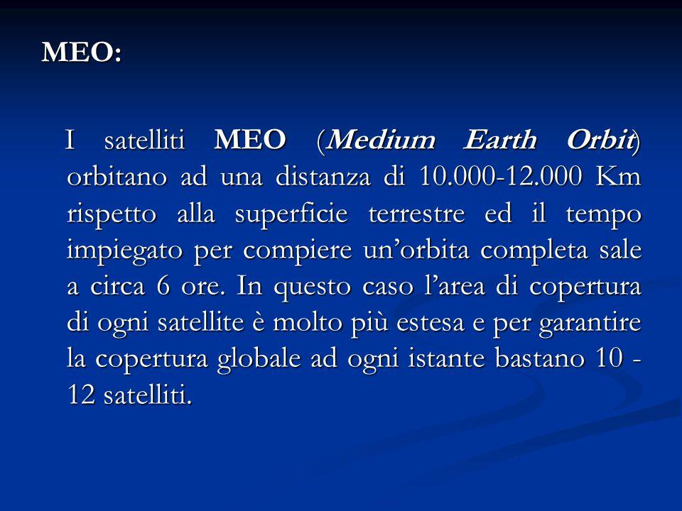 MEO: I satelliti MEO (Medium Earth Orbit) orbitano ad una distanza di 10.000-12.000 Km rispetto alla superficie terrestre ed il tempo impiegato per co