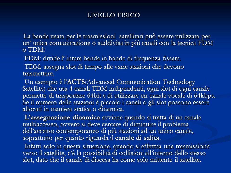 La banda usata per le trasmissioni satellitari può essere utilizzata per un' unica comunicazione o suddivisa in più canali con la tecnica FDM o TDM: L