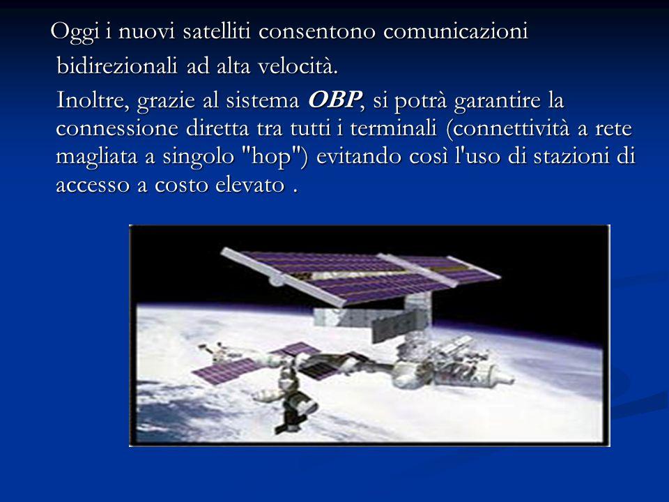 Oggi i nuovi satelliti consentono comunicazioni Oggi i nuovi satelliti consentono comunicazioni bidirezionali ad alta velocità. bidirezionali ad alta