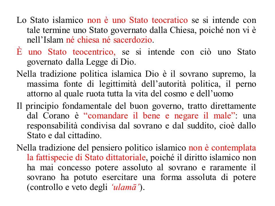 Lo Stato islamico non è uno Stato teocratico se si intende con tale termine uno Stato governato dalla Chiesa, poiché non vi è nell'Islam né chiesa né