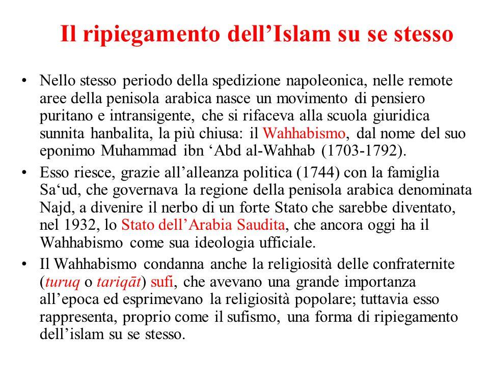 Il ripiegamento dell'Islam su se stesso Nello stesso periodo della spedizione napoleonica, nelle remote aree della penisola arabica nasce un movimento
