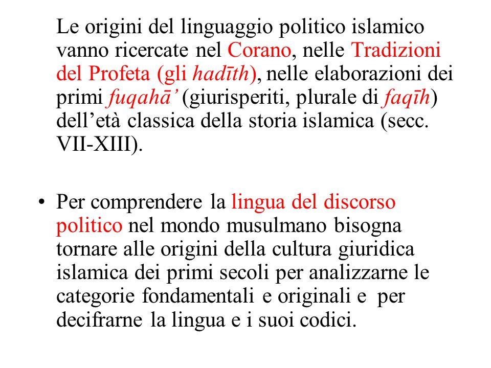 Le origini del linguaggio politico islamico vanno ricercate nel Corano, nelle Tradizioni del Profeta (gli hadīth), nelle elaborazioni dei primi fuqahā
