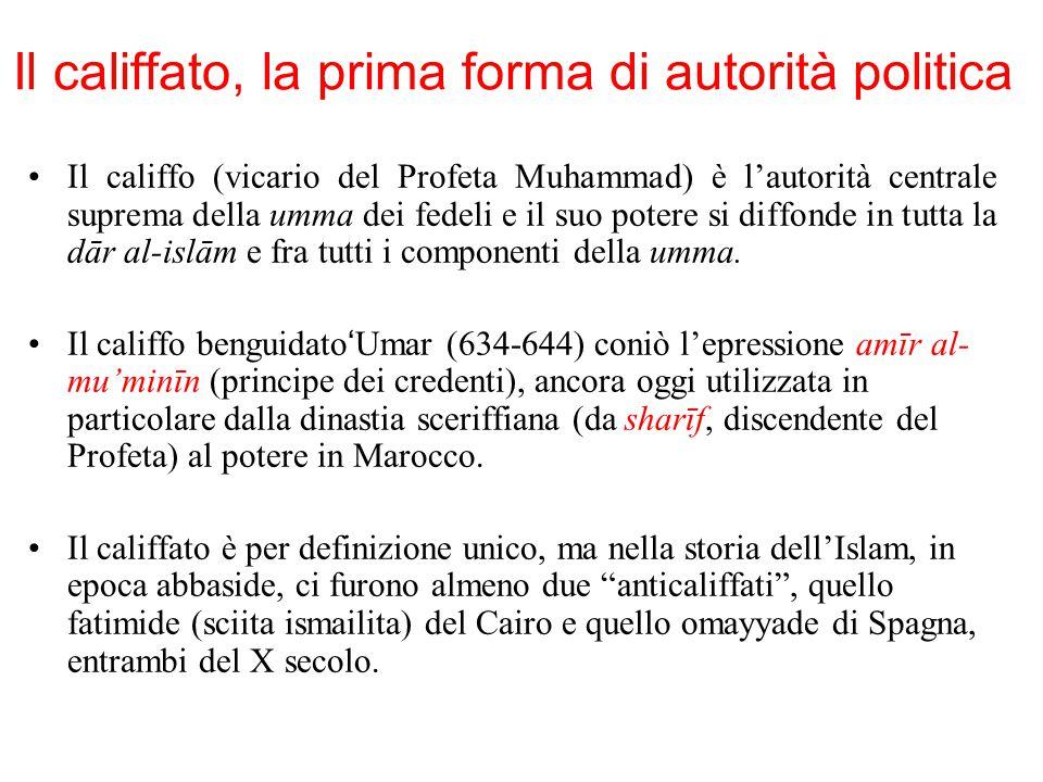 Il califfato, la prima forma di autorità politica Il califfo (vicario del Profeta Muhammad) è l'autorità centrale suprema della umma dei fedeli e il s