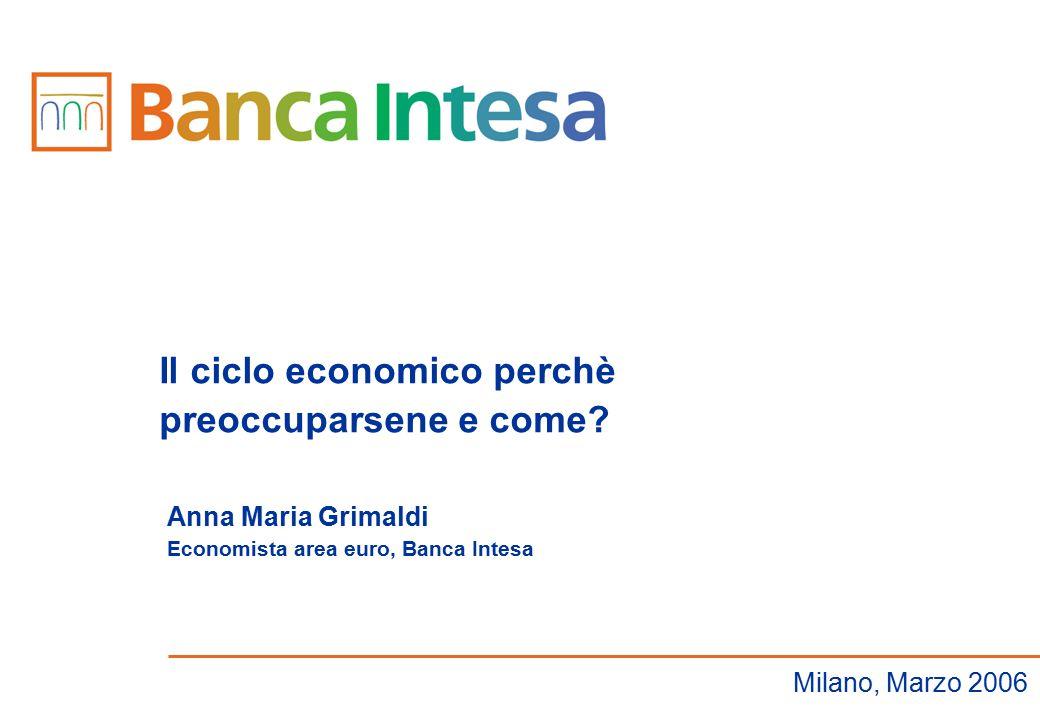 Anna Maria Grimaldi Economista area euro, Banca Intesa Il ciclo economico perchè preoccuparsene e come? Milano, Marzo 2006